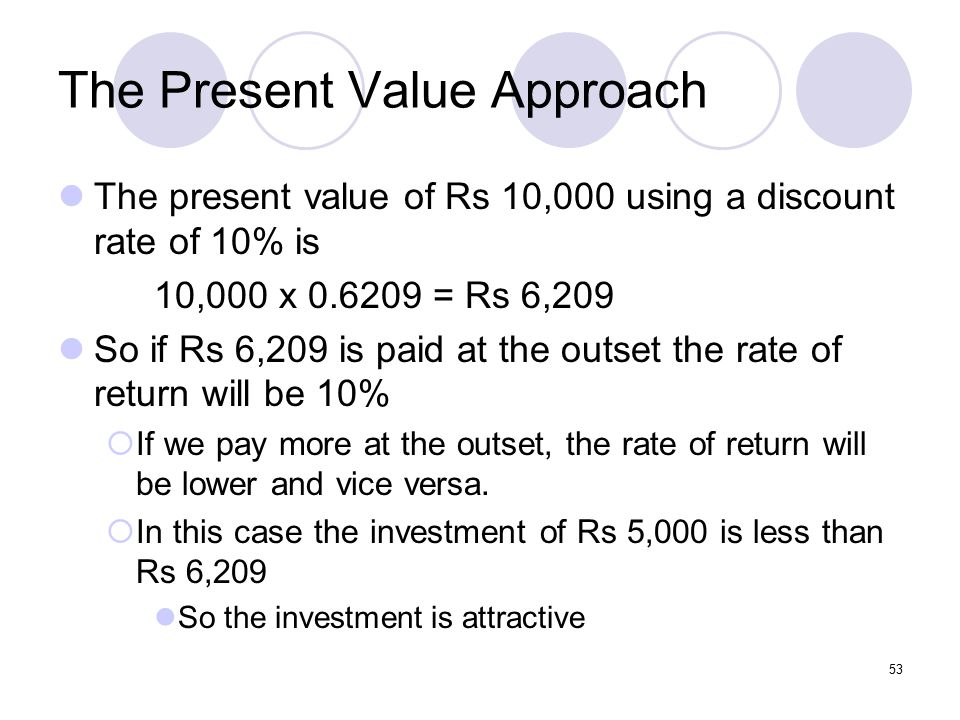 53 The Present Value Approach The present value of Rs 10,000 using a discount rate of 10% is 10,000 x 0.6209 = Rs 6,209 So if Rs 6,209 is paid at the outset the rate of return will be 10%  If we pay more at the outset, the rate of return will be lower and vice versa.