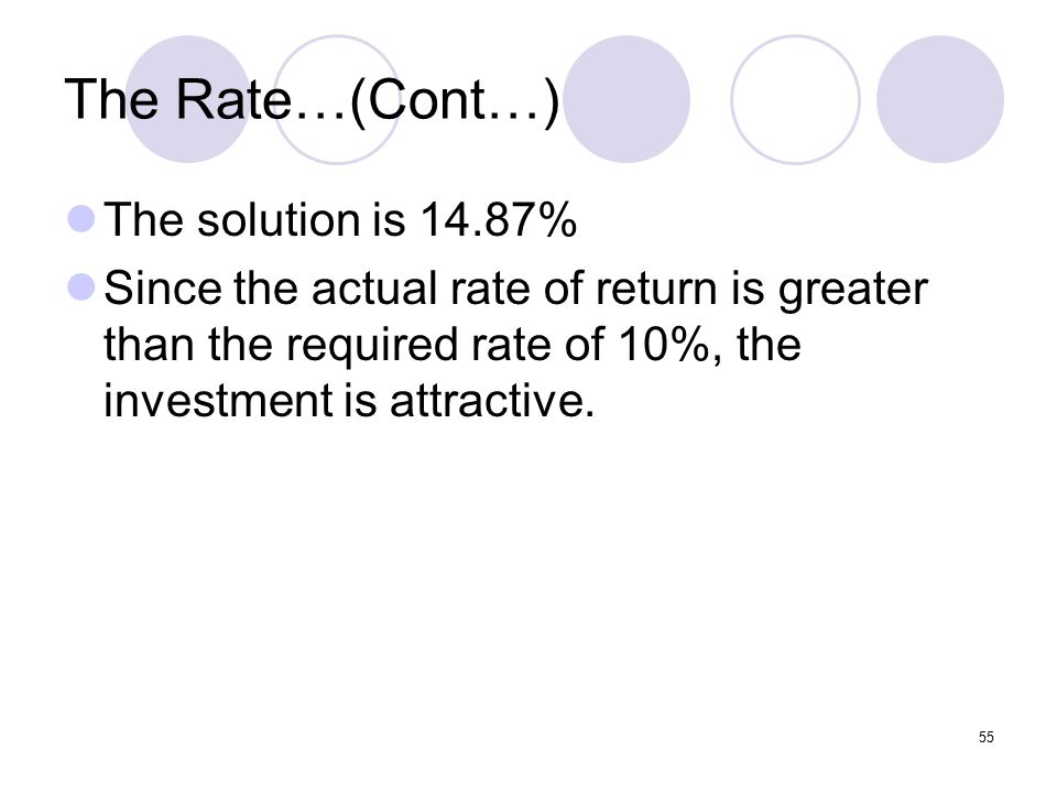 55 The Rate…(Cont…) The solution is 14.87% Since the actual rate of return is greater than the required rate of 10%, the investment is attractive.