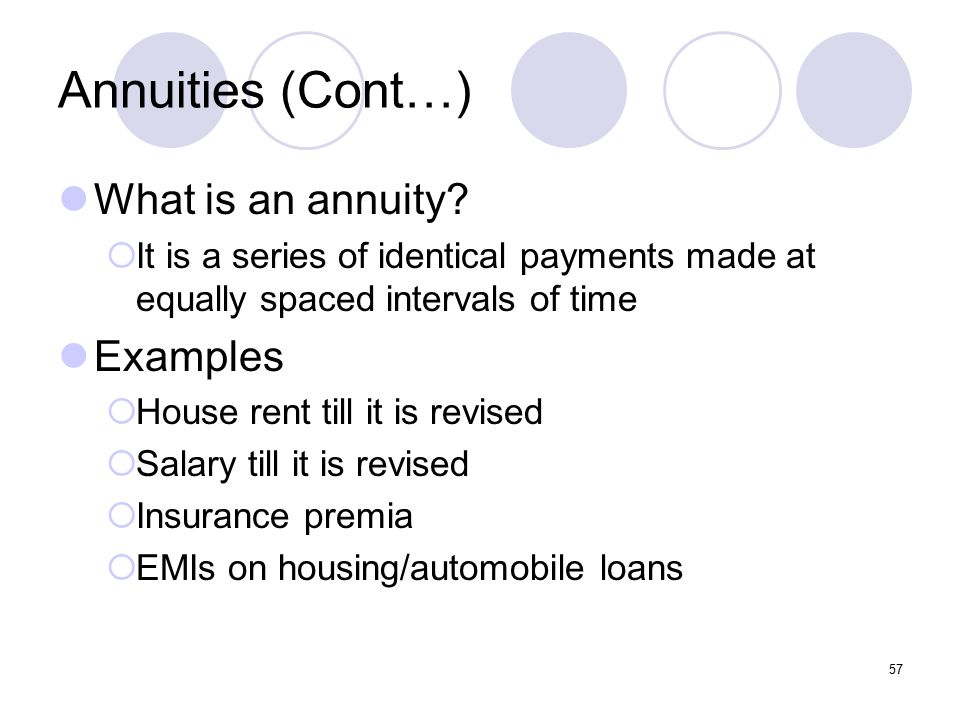 57 Annuities (Cont…) What is an annuity.