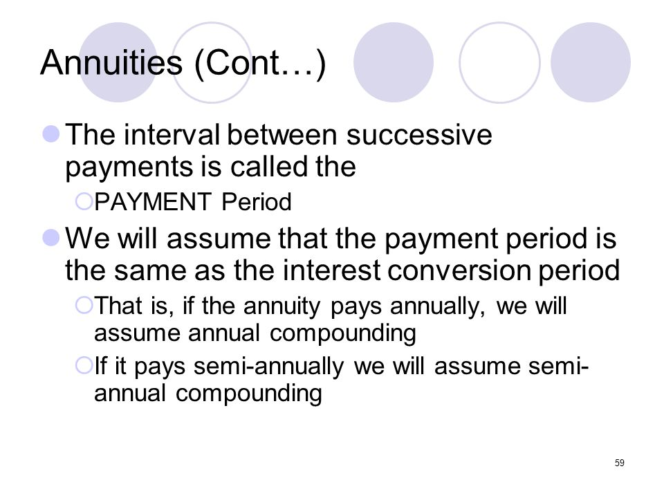 59 Annuities (Cont…) The interval between successive payments is called the  PAYMENT Period We will assume that the payment period is the same as the interest conversion period  That is, if the annuity pays annually, we will assume annual compounding  If it pays semi-annually we will assume semi- annual compounding
