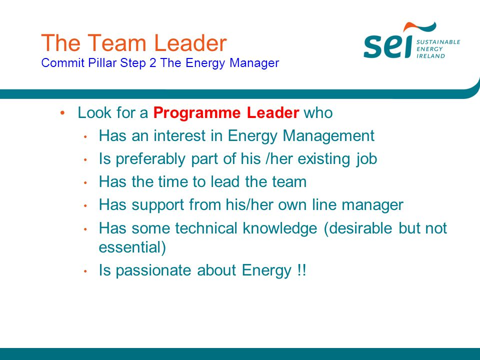 The Team Leader Commit Pillar Step 2 The Energy Manager Look for a Programme Leader who Has an interest in Energy Management Is preferably part of his