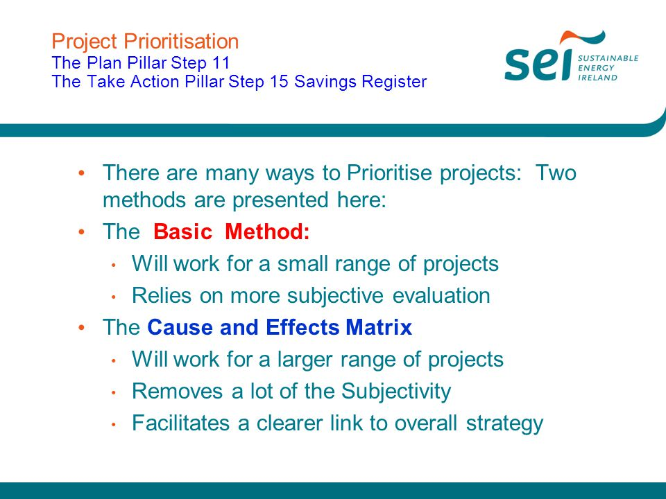 Project Prioritisation The Plan Pillar Step 11 The Take Action Pillar Step 15 Savings Register There are many ways to Prioritise projects: Two methods