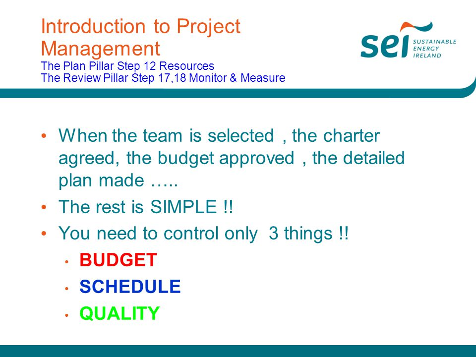 Introduction to Project Management The Plan Pillar Step 12 Resources The Review Pillar Step 17,18 Monitor & Measure When the team is selected, the cha