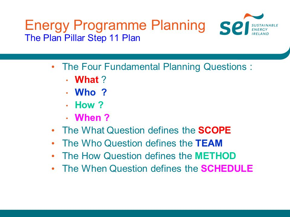 Energy Programme Planning The Plan Pillar Step 11 Plan The Four Fundamental Planning Questions : What ? Who ? How ? When ? The What Question defines t