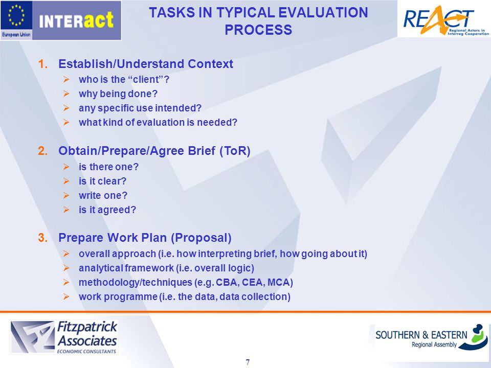 TASKS IN TYPICAL EVALUATION PROCESS 7 1.Establish/Understand Context  who is the client .