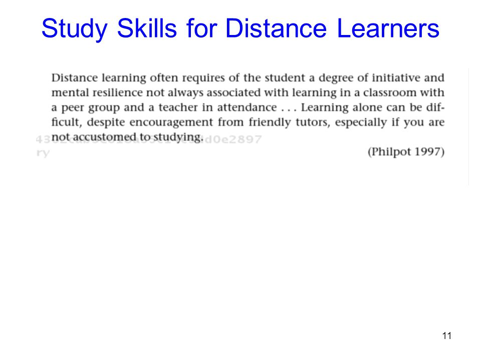 11 Study Skills for Distance Learners
