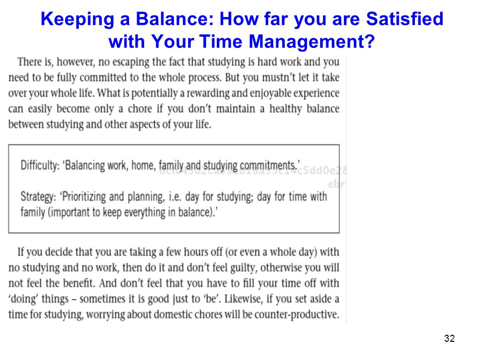 32 Keeping a Balance: How far you are Satisfied with Your Time Management?