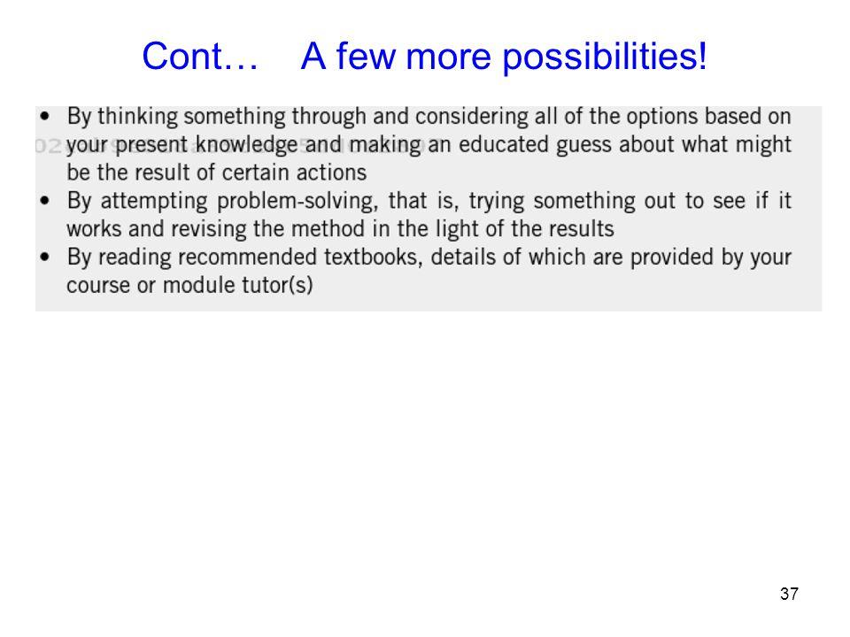 37 Cont… A few more possibilities!