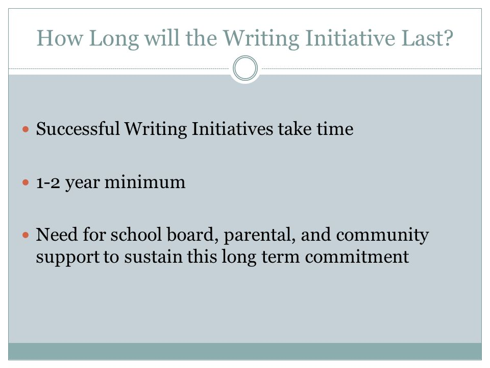 How Long will the Writing Initiative Last.