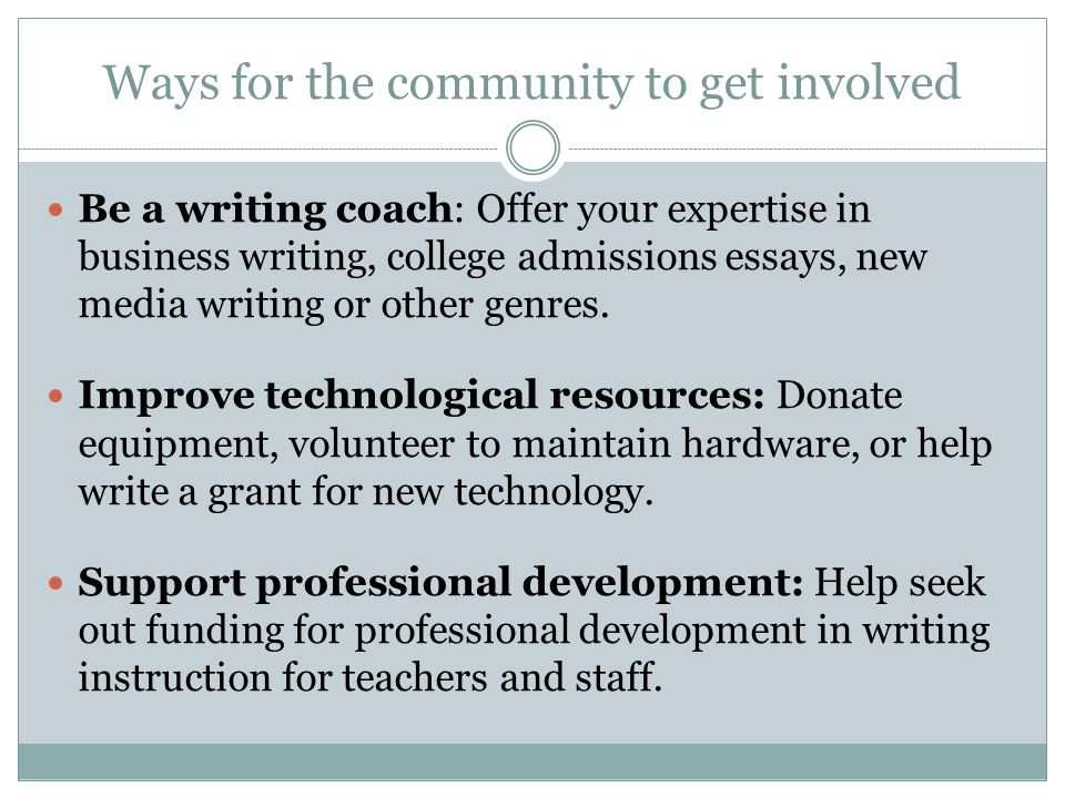 Ways for the community to get involved Be a writing coach: Offer your expertise in business writing, college admissions essays, new media writing or o