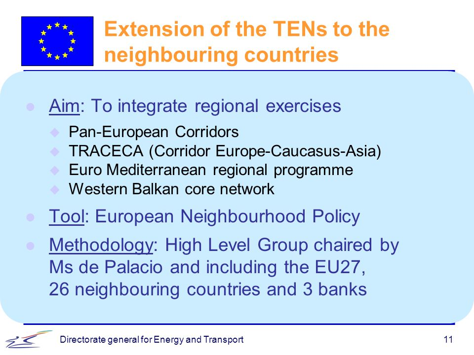 Directorate general for Energy and Transport11 Extension of the TENs to the neighbouring countries l Aim: To integrate regional exercises u Pan-Europe