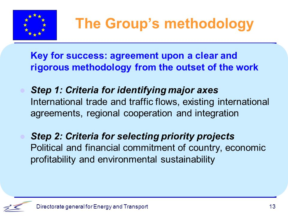 Directorate general for Energy and Transport13 The Group's methodology Key for success: agreement upon a clear and rigorous methodology from the outse
