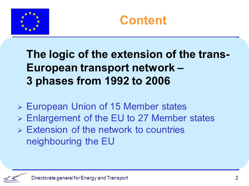 Directorate general for Energy and Transport3 l White paper of Jacques Delors - Growth, competitiveness and employment launches the debate in 1992 l Chapter on TENs was introduced to EU Treaty in 1993 (Maastricht treaty) l The TEN Guidelines were first adopted in 1996 aiming at: u Integrating national networks and modes of transport u Linking peripheral regions of the Union to the centre u Improving safety and efficiency of the networks l 14 priority Essen projects identified by the EU Heads of State and Government in 1994 were included in the TEN Guidelines Trans-European Transport Network (TEN-T)
