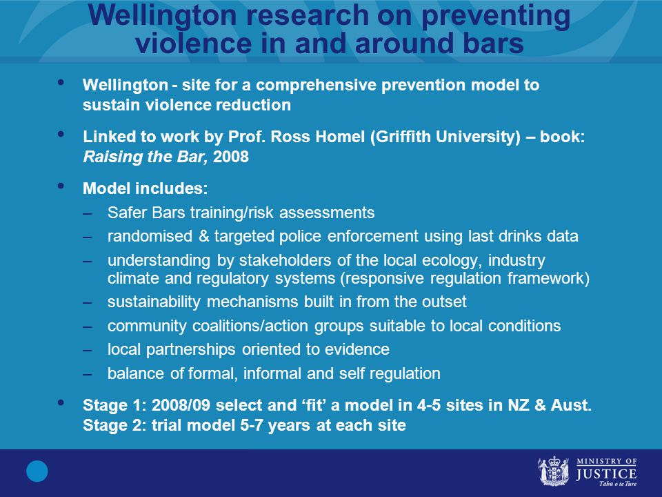 Wellington research on preventing violence in and around bars Wellington - site for a comprehensive prevention model to sustain violence reduction Linked to work by Prof.