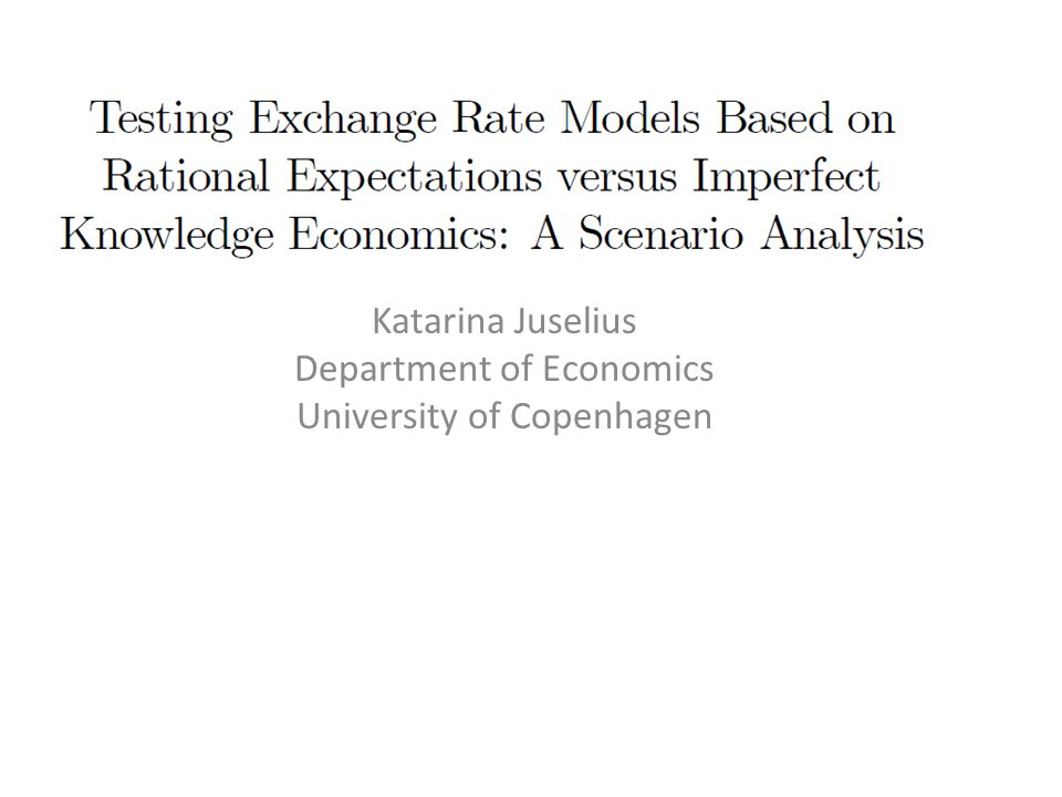 Economic theory: Shock structure, equilibrium relations, and expectations formation Model-based rational expectations: a tool to ensure theoretical consistency Principles for taking such models to the data Empirical consistency entails carefully matching the basic assumptions underlying the theoretical model with the empirical regularities of the data as structured by a statistically adequate model