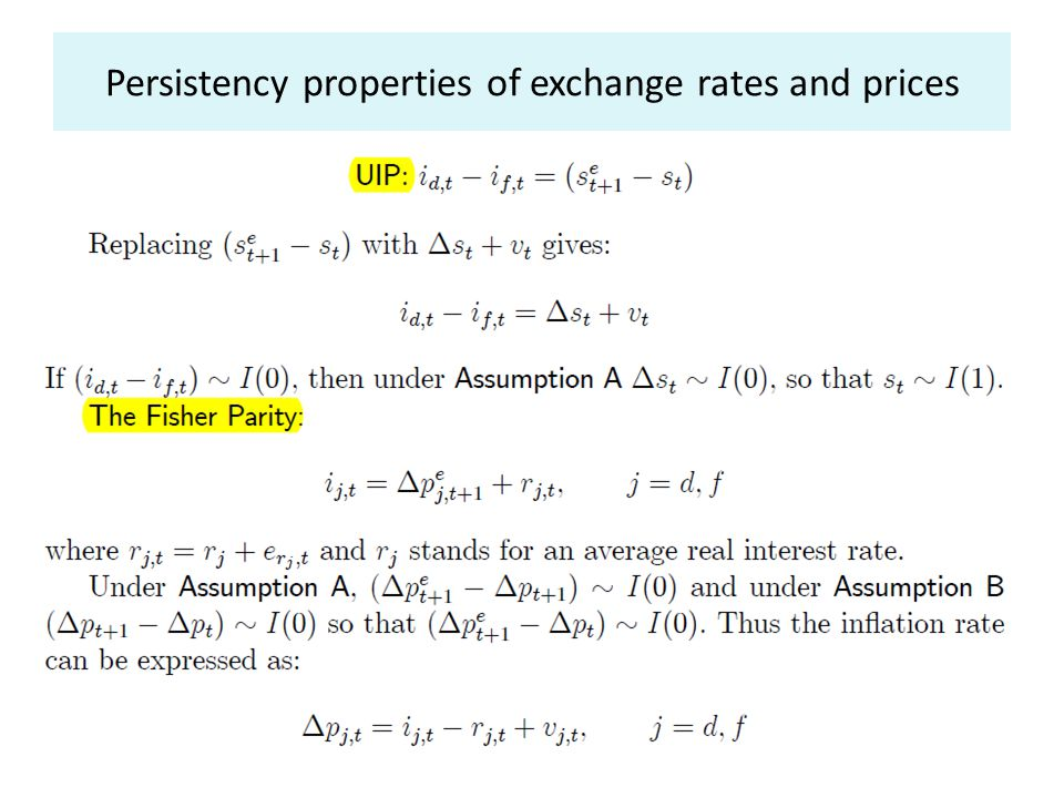 Persistency properties of exchange rates and prices