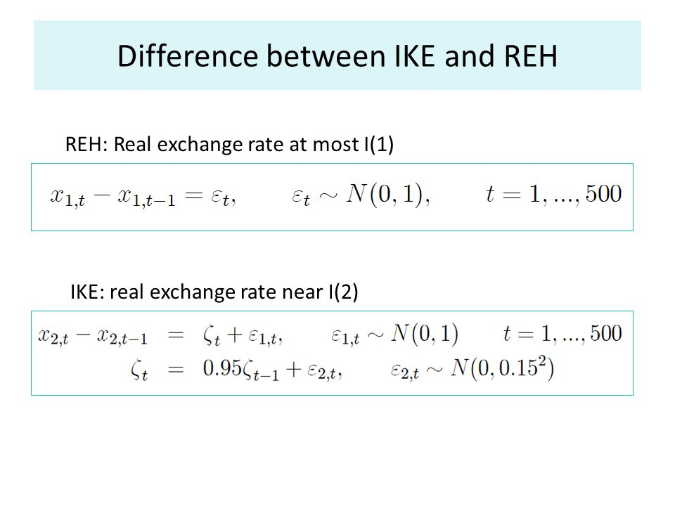 Difference between IKE and REH REH: Real exchange rate at most I(1) IKE: real exchange rate near I(2)