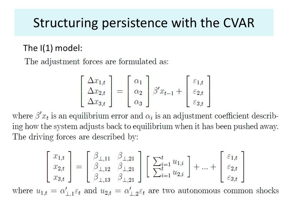 Structuring persistence with the CVAR The I(1) model: