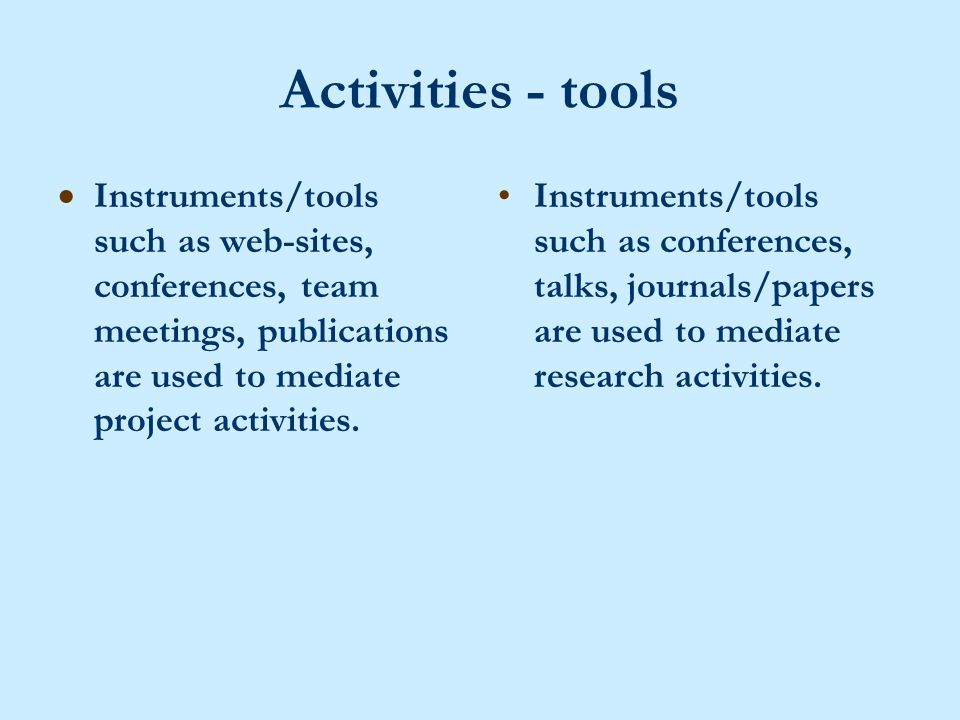 Activities - tools  Instruments/tools such as web-sites, conferences, team meetings, publications are used to mediate project activities.