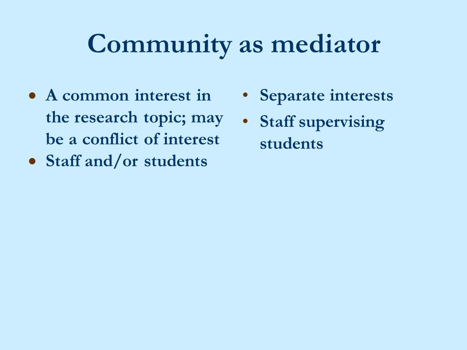 Community as mediator  A common interest in the research topic; may be a conflict of interest  Staff and/or students Separate interests Staff supervising students