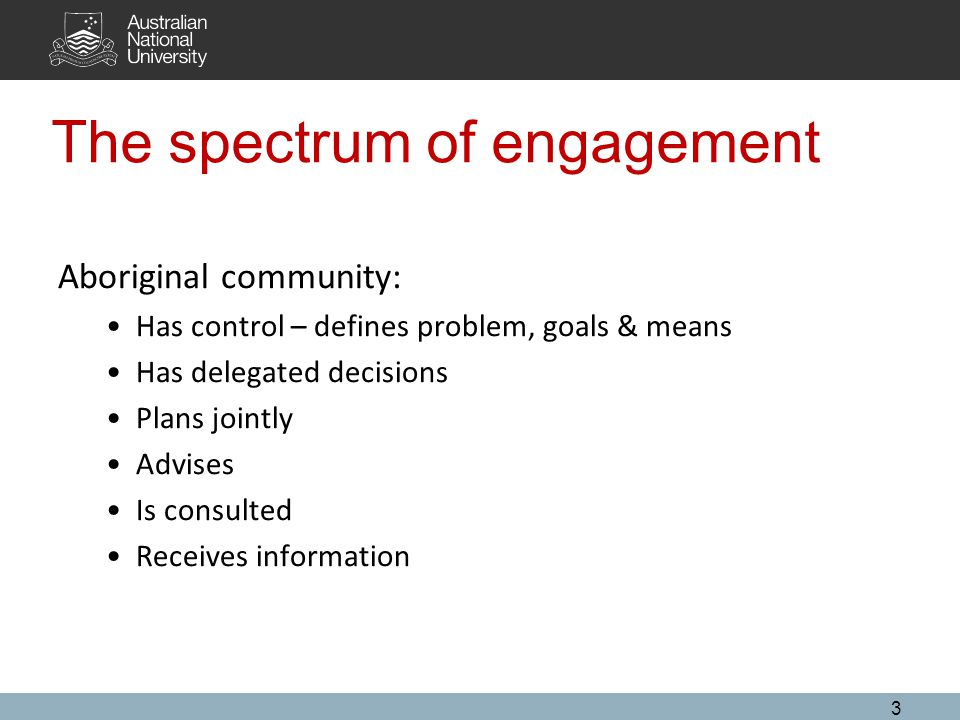 The spectrum of engagement 3 Aboriginal community: Has control – defines problem, goals & means Has delegated decisions Plans jointly Advises Is consulted Receives information