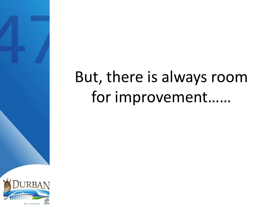 But, there is always room for improvement……