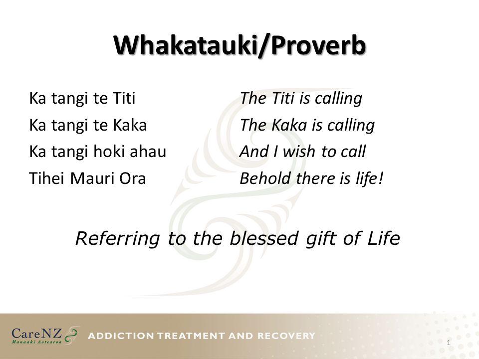 Whakatauki/Proverb Ka tangi te Titi Ka tangi te Kaka Ka tangi hoki ahau Tihei Mauri Ora The Titi is calling The Kaka is calling And I wish to call Beh