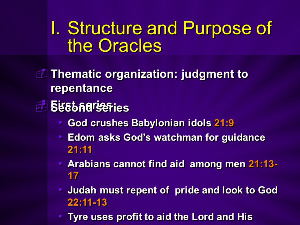 I.Structure and Purpose of the Oracles  Thematic organization: judgment to repentance  First series  Thematic organization: judgment to repentance