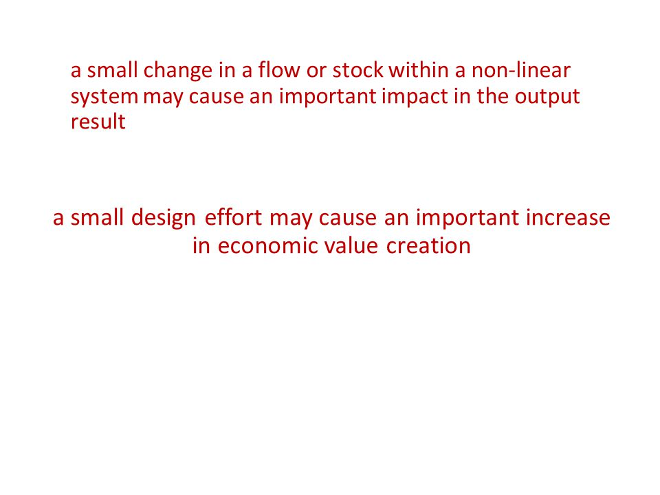 a small change in a flow or stock within a non-linear system may cause an important impact in the output result a small design effort may cause an important increase in economic value creation