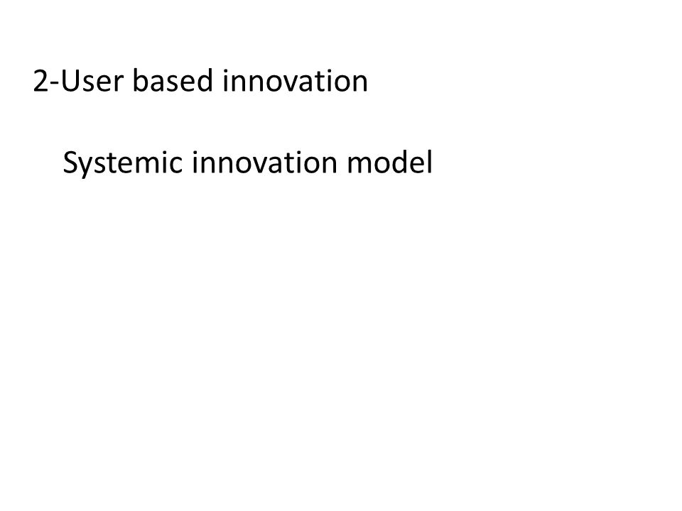 2-User based innovation Systemic innovation model