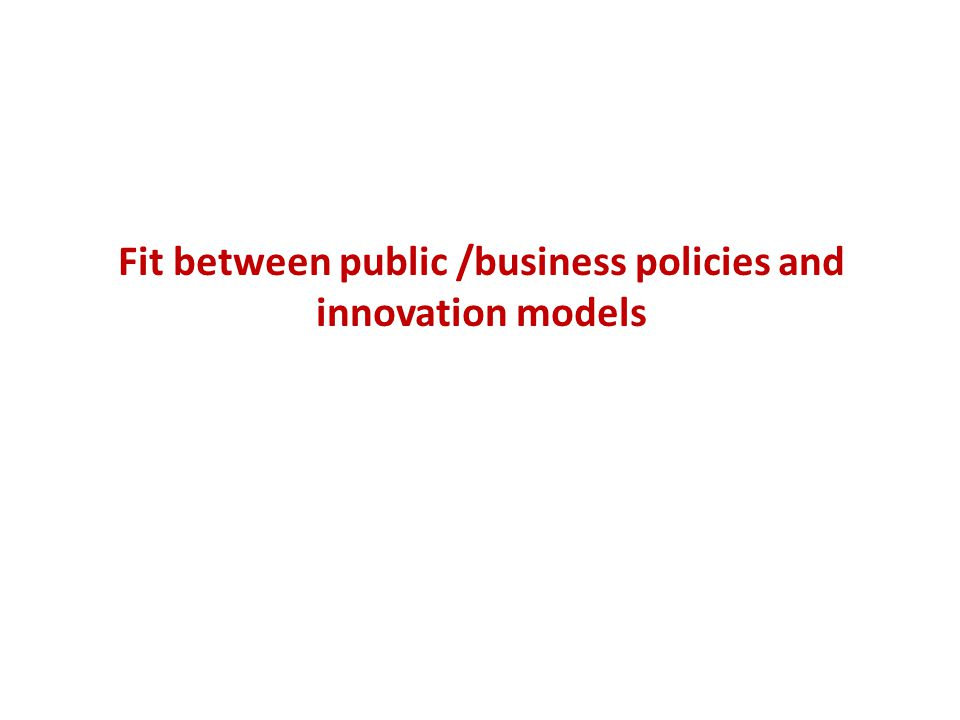 Fit between public /business policies and innovation models