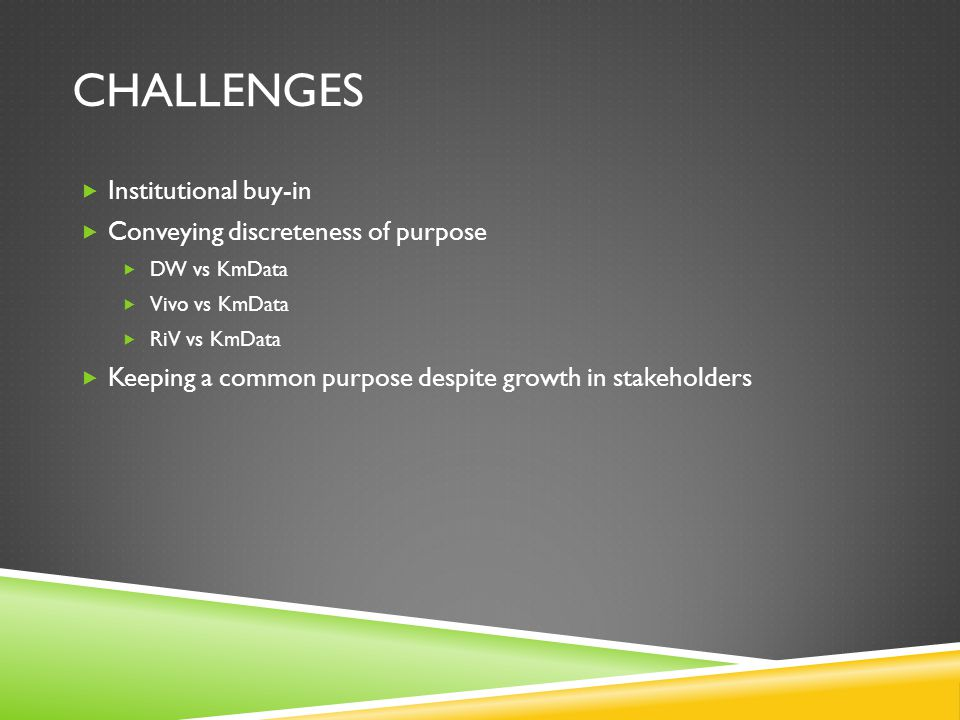 CHALLENGES  Institutional buy-in  Conveying discreteness of purpose  DW vs KmData  Vivo vs KmData  RiV vs KmData  Keeping a common purpose despi