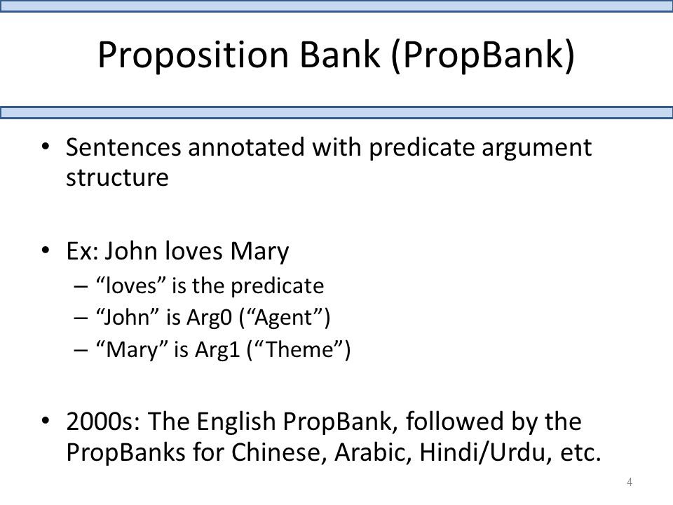 Proposition Bank (PropBank) Sentences annotated with predicate argument structure Ex: John loves Mary – loves is the predicate – John is Arg0 ( Agent ) – Mary is Arg1 ( Theme ) 2000s: The English PropBank, followed by the PropBanks for Chinese, Arabic, Hindi/Urdu, etc.