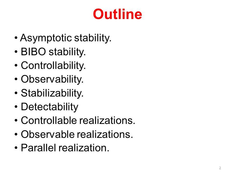 Outline Asymptotic stability. BIBO stability. Controllability. Observability. Stabilizability. Detectability Controllable realizations. Observable rea