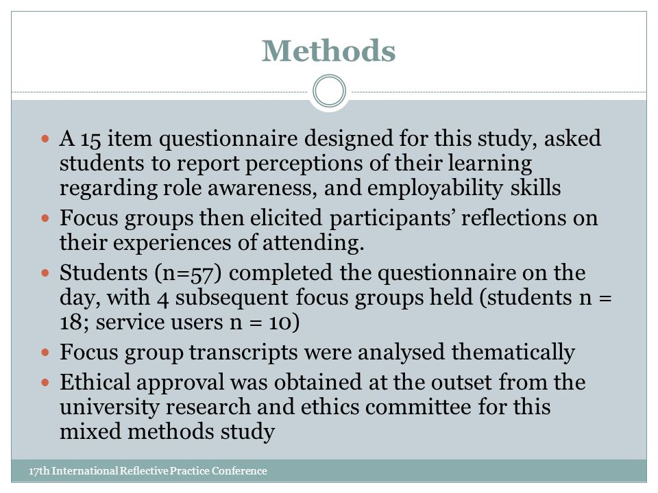 Methods 17th International Reflective Practice Conference A 15 item questionnaire designed for this study, asked students to report perceptions of their learning regarding role awareness, and employability skills Focus groups then elicited participants' reflections on their experiences of attending.