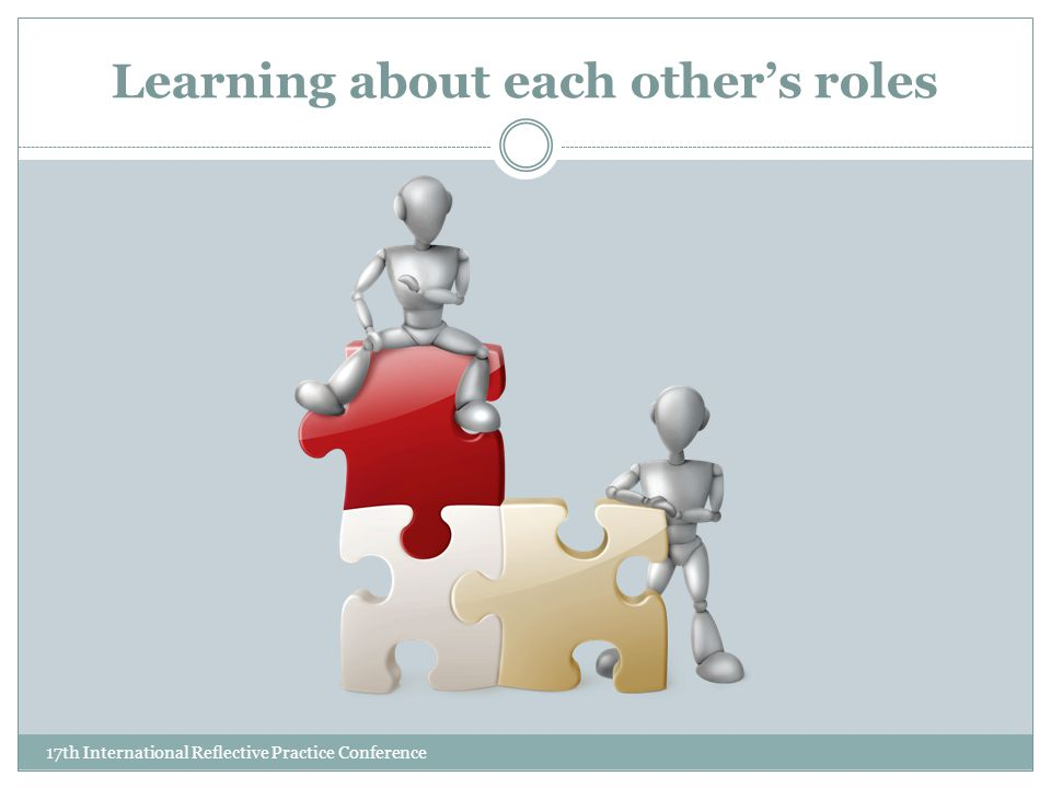 Learning about each other's roles 17th International Reflective Practice Conference