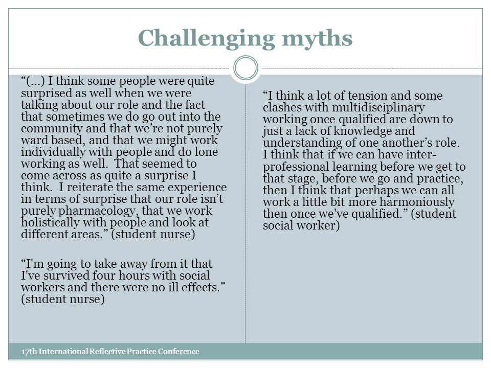 Challenging myths 17th International Reflective Practice Conference (…) I think some people were quite surprised as well when we were talking about our role and the fact that sometimes we do go out into the community and that we're not purely ward based, and that we might work individually with people and do lone working as well.