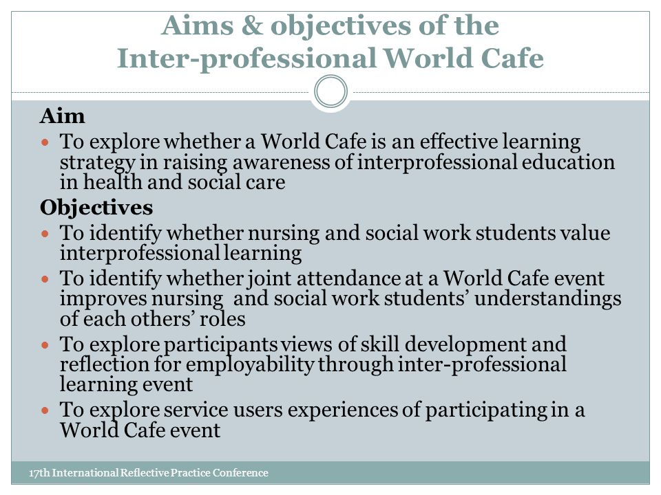 Aims & objectives of the Inter-professional World Cafe 17th International Reflective Practice Conference Aim To explore whether a World Cafe is an effective learning strategy in raising awareness of interprofessional education in health and social care Objectives To identify whether nursing and social work students value interprofessional learning To identify whether joint attendance at a World Cafe event improves nursing and social work students' understandings of each others' roles To explore participants views of skill development and reflection for employability through inter-professional learning event To explore service users experiences of participating in a World Cafe event