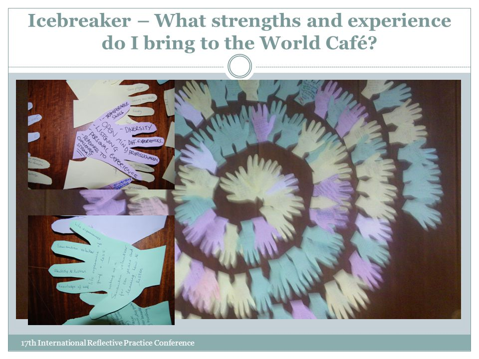 Icebreaker – What strengths and experience do I bring to the World Café.