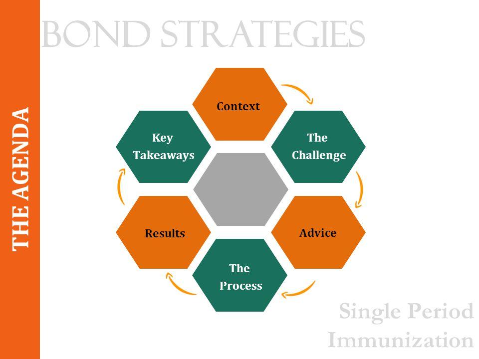 The Challenge Context Advice The Process Results Key Takeaways THE AGENDA Bond Strategies Single Period Immunization