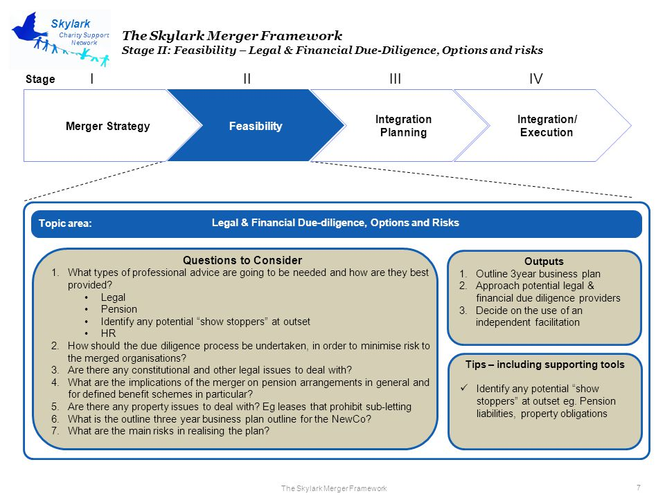 The Skylark Merger Framework 7 Charity Support Network Skylark Merger Strategy Feasibility Integration Planning Integration/ Execution IIIIIIIV The Skylark Merger Framework Stage II: Feasibility – Legal & Financial Due-Diligence, Options and risks Legal & Financial Due-diligence, Options and Risks Questions to Consider 1.What types of professional advice are going to be needed and how are they best provided.