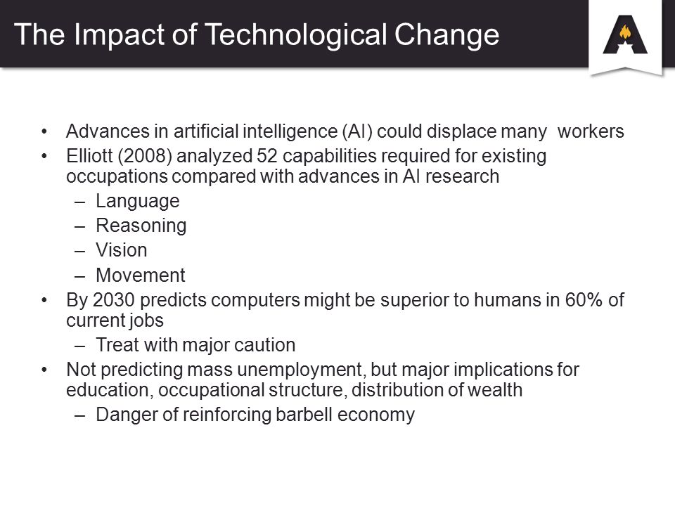 The Impact of Technological Change Advances in artificial intelligence (AI) could displace many workers Elliott (2008) analyzed 52 capabilities required for existing occupations compared with advances in AI research –Language –Reasoning –Vision –Movement By 2030 predicts computers might be superior to humans in 60% of current jobs –Treat with major caution Not predicting mass unemployment, but major implications for education, occupational structure, distribution of wealth –Danger of reinforcing barbell economy