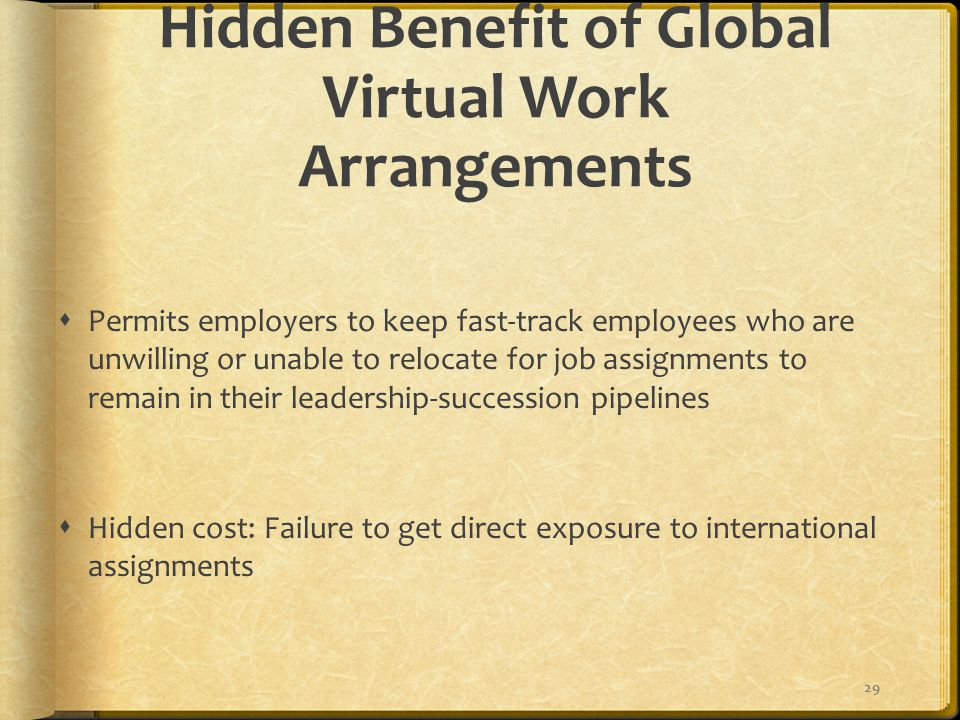 Hidden Benefit of Global Virtual Work Arrangements  Permits employers to keep fast-track employees who are unwilling or unable to relocate for job assignments to remain in their leadership-succession pipelines  Hidden cost: Failure to get direct exposure to international assignments 29