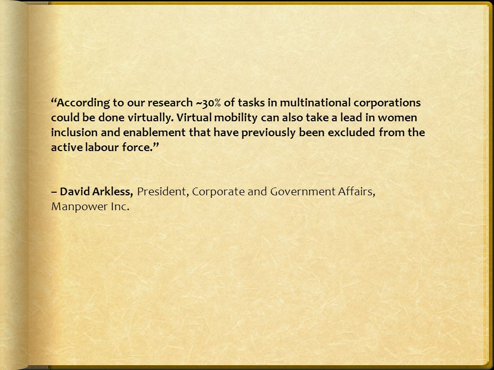 According to our research ~30% of tasks in multinational corporations could be done virtually.
