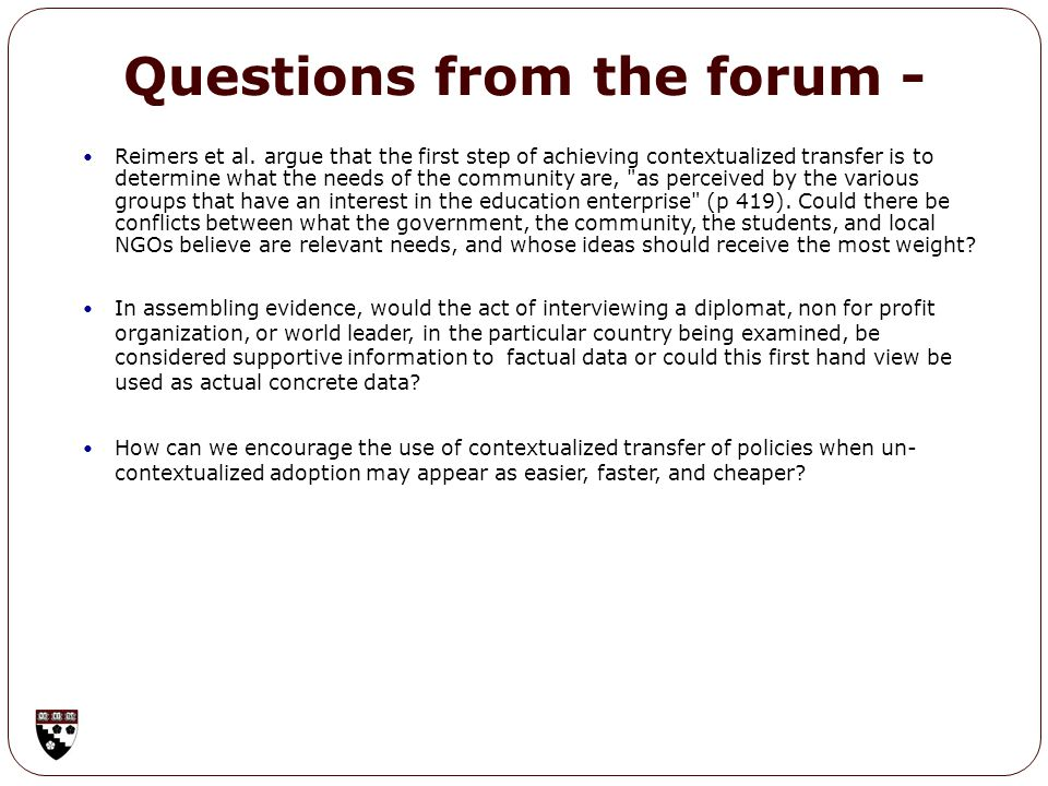 Questions from the forum - Reimers et al.