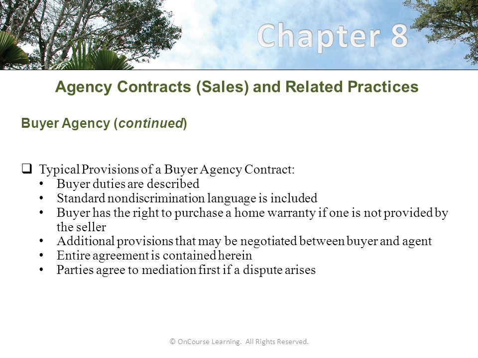 Oncourse Learning. All Rights Reserved. Agency Contracts (Sales