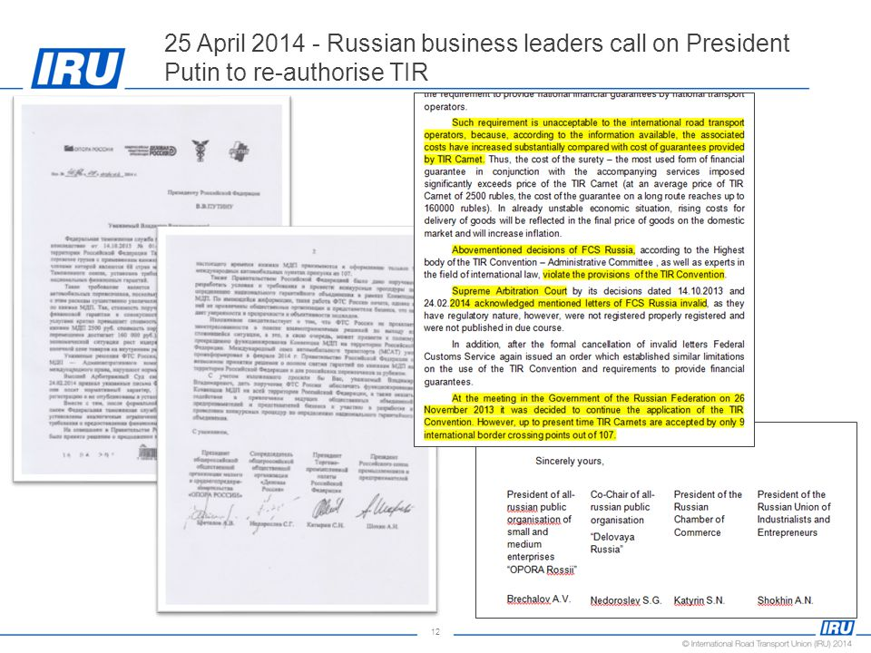 12 25 April 2014 - Russian business leaders call on President Putin to re-authorise TIR