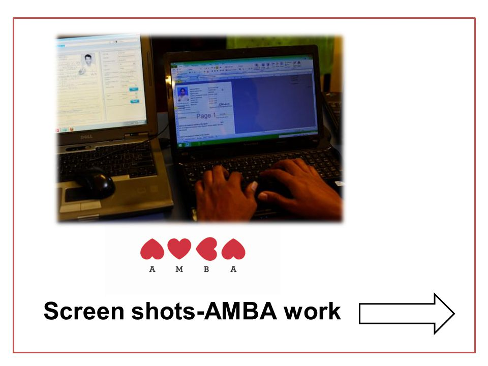 Screen shots-AMBA work