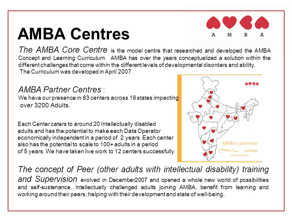 AMBA Centres The AMBA Core Centre is the model centre that researched and developed the AMBA Concept and Learning Curriculum. AMBA has over the years