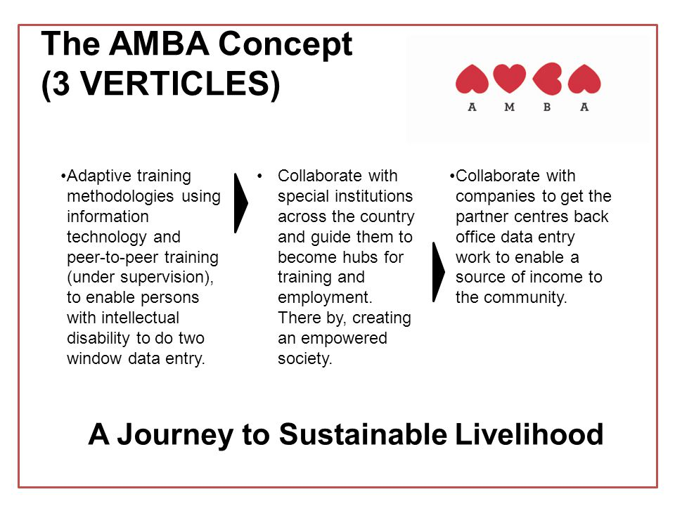 The AMBA Concept (3 VERTICLES) Adaptive training methodologies using information technology and peer-to-peer training (under supervision), to enable persons with intellectual disability to do two window data entry.